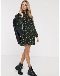 Oasis Swing Dress With Tie Collar - Black