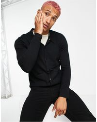 Rudie Boxy Fit Collared Button Through Cardigan - Black