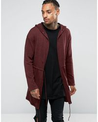 ASOS Knitted Parka In Burgundy Twist - Multicolor