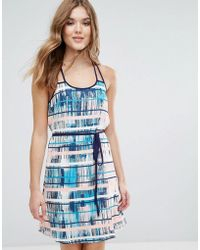 Lavand - Printed Belted Dress With Racer Back - Lyst