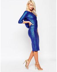 ASOS Embellished Cowl Bodycon Midi Dress - Blue