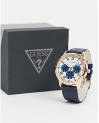 Guess – Armbanduhr mit blauem Zifferblatt - Mettallic