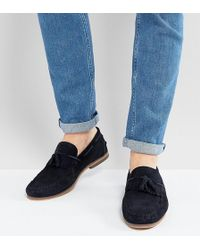 9783ba343d3 ASOS - Asos Wide Fit Tassel Loafers In Navy Suede With Fringe And Natural  Sole -