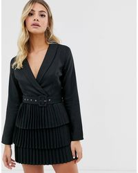 In The Style X Dani Dyer Plunge Front Blazer Dress With Pleated Skirt - Black