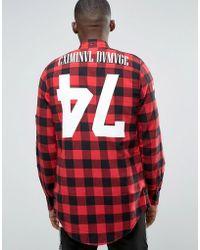 Criminal Damage - Longline Check Shirt With Back Print - Lyst