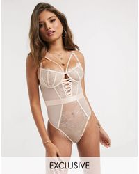Wolf & Whistle Fuller Bust Lace Up Front Cupped Bodysuit - Pink