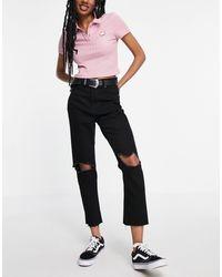 Brave Soul Seba Mom Jeans With Knee Rips - Black