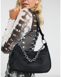 Weekday Chain Recycled Polyester Shoulder Bag With Chain Detail - Black