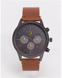 Farah Часы С Хронографом На Кожаном Ремешке -коричневый