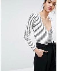 Just Female | Nine Stripe Bodysuit - White | Lyst