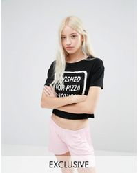 Adolescent Clothing Wished For Pizza Pajama Set - Black