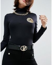 Versace Jeans - Belt With Signature Buckle - Black - Lyst