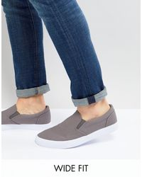 ASOS Wide Fit Slip On Trainers - Grey