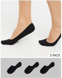 Monki 3 Pack Invisible Footsie Socks - Black