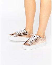 London Rebel | Rose Gold Flatform Lace Up Sneaker | Lyst