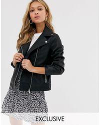 New Look Свободная Байкерская Куртка Из Полиуретана -черный