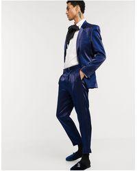 ASOS Smaltoelopende Pantalon Met Diepblauwe hoogglans