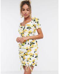 Missguided - Платье Со Сборками И Принтом В Виде Лимонов -многоцветный - Lyst
