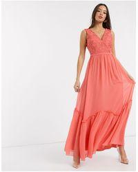 Little Mistress - Оранжевое Кружевное Платье Макси С Глубоким Вырезом -оранжевый - Lyst
