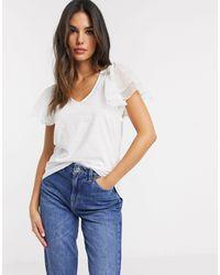 River Island - T-shirt manches courtes à volants - Lyst