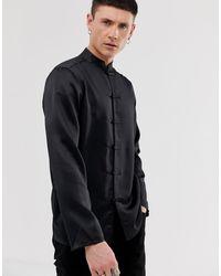 ASOS Regular Fit Satin Mandarin Collar Shirt - Black