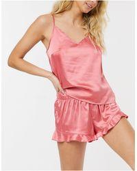 Chelsea Peers Розовая Пижама С Топом На Бретелях И Шортами -темно-синий - Розовый