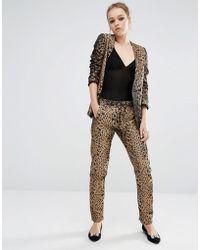 Sister Jane Skinny Pants In Heart Leopard Print Co-ord - Gold - Metallic