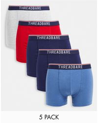 Threadbare Tenysi 5 Pack Trunks With Tipping - Blue