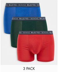 SELECTED Набор Из 3 Разноцветных Боксеров-брифов С Логотипом На Поясе -разноцветный - Многоцветный