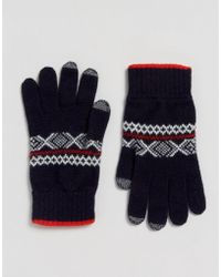 Glen Lossie - Lambswool Fair Isle Touch Gloves In Navy - Lyst