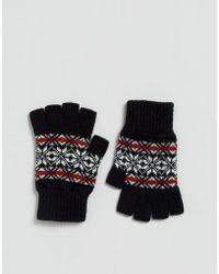Glen Lossie - Lambswool Fair Isle Fingerless Gloves In Black - Lyst
