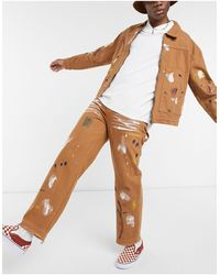 Jaded London Co-ord Paint Splattered Carpenter Jeans - Brown