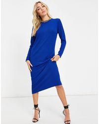 I Saw It First Stripe Ribbed Midi T Shirt Dress - Blue