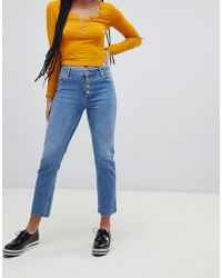 Miss Selfridge - Straight Leg Jeans With Button Front In Mid Wash - Lyst