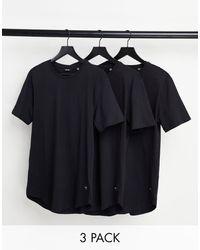Only & Sons - Confezione da 3 T-shirt lunghe nere con fondo arrotondato - Lyst