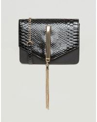 Lipsy - Patent Cross Body Bag With Tassel - Lyst