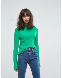 Weekday - High Neck Jumper With Rib Detail - Lyst