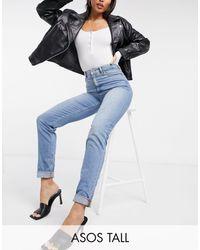 ASOS - ASOS DESIGN Tall - Farleigh - Mom jeans slim lavaggio stone wash - Lyst
