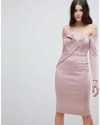 ASOS - Long Sleeve Bandeau Origami Front Midi Dress - Lyst