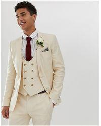 ASOS Wedding – Superenge Anzugjacke aus Leinen - Natur