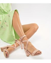4236fcd92d06 ASOS Wide Fit Howling Tie Leg Block Heeled Sandals in Natural - Lyst