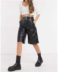 Monki Lennie Faux Leather Culottes - Black
