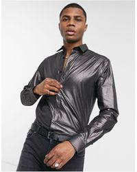 Twisted Tailor Camisa en gris plomo entallada con acabado plateado y purpurina - Metálico