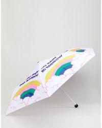 Monki Rainbow And Cloud Umbrella - White