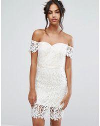5a861c85c28b Chi Chi London - Lace Bandeu Midi Dress With Sweetheart Neck - Lyst