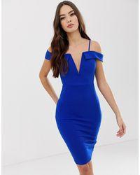 AX Paris - Marineblauwe Midi-jurk Met Blote Schouders - Lyst