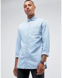 Jack & Jones   Intelligence Relaxed Fit Denim Shirt In Light Blue Wash   Lyst