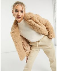 TOPSHOP - Бежевая Укороченная Куртка Из Искусственного Меха -коричневый Цвет - Lyst