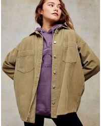 TOPSHOP Вельветовая Рубашка Цвета Хаки -зеленый - Естественный