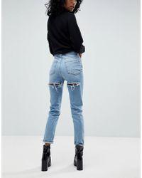 ASOS - Design Farleigh High Waist Slim Mom Jeans In Ariel Light Stone Wash With Bum Rips - Lyst